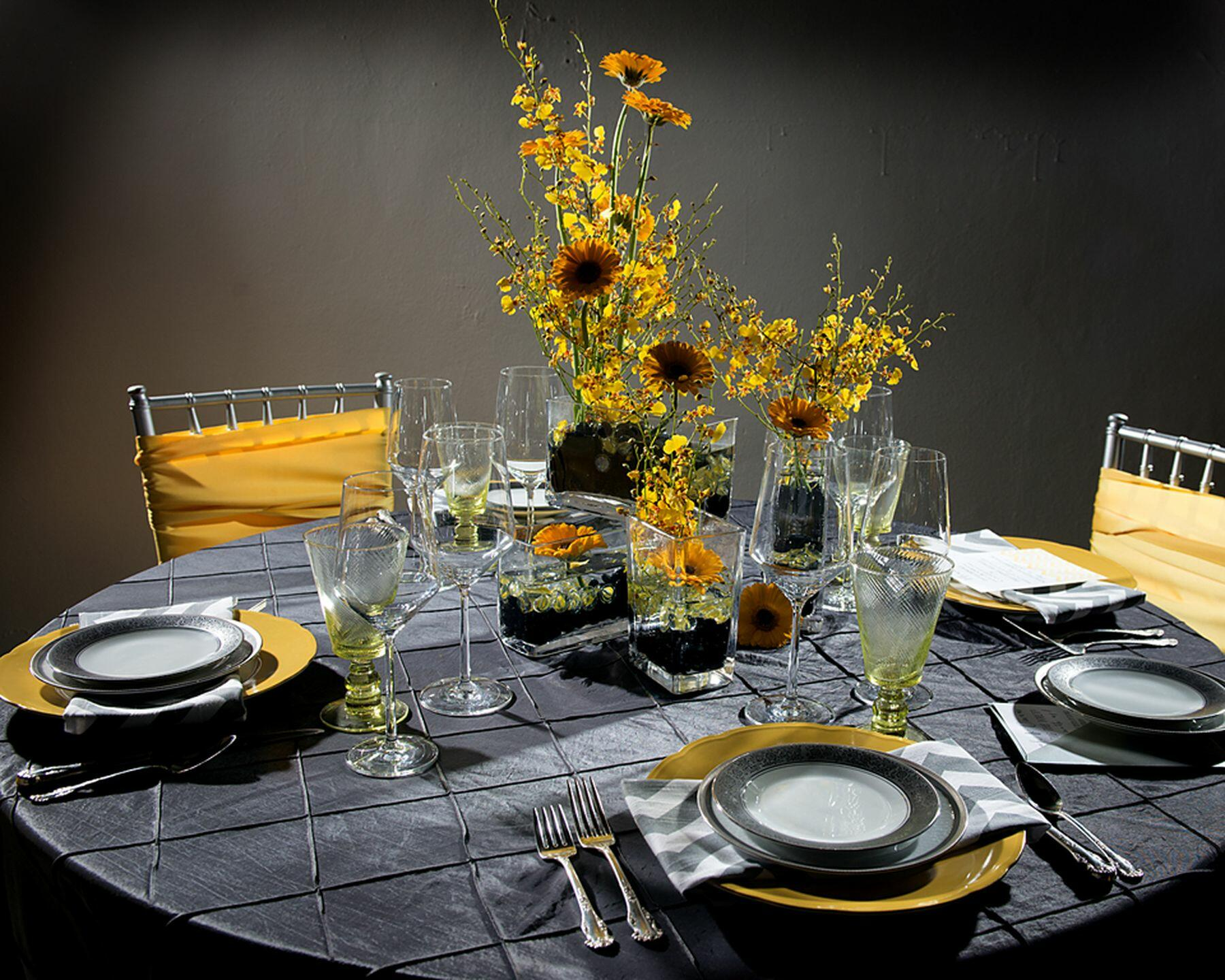 Place settings on restaurant table