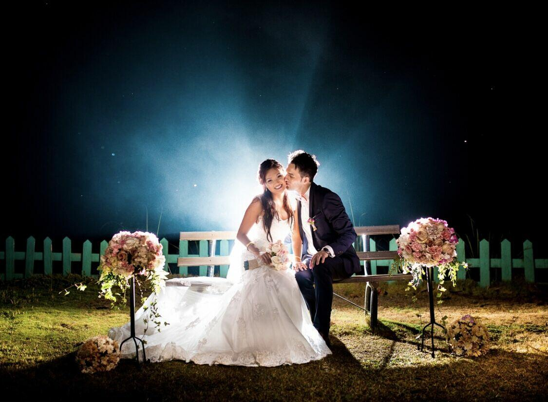 Couple kissing after wedding