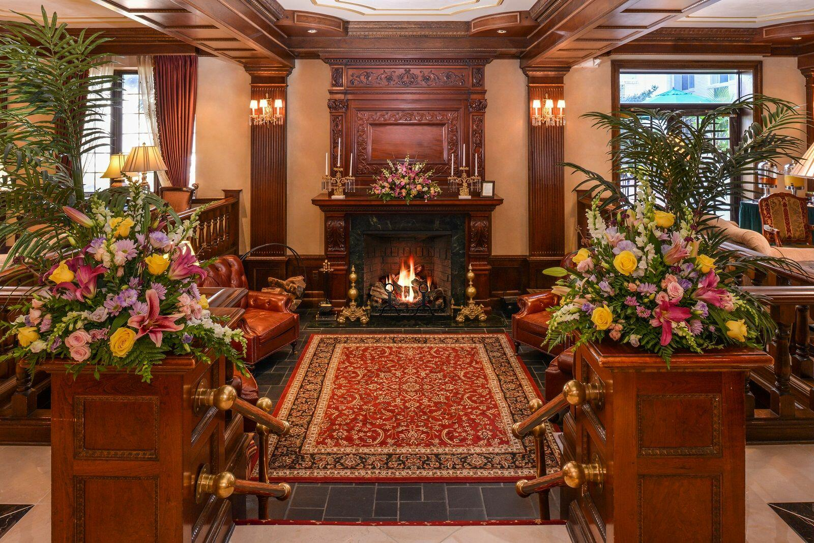 Decadent Victorian lobby with fireplace