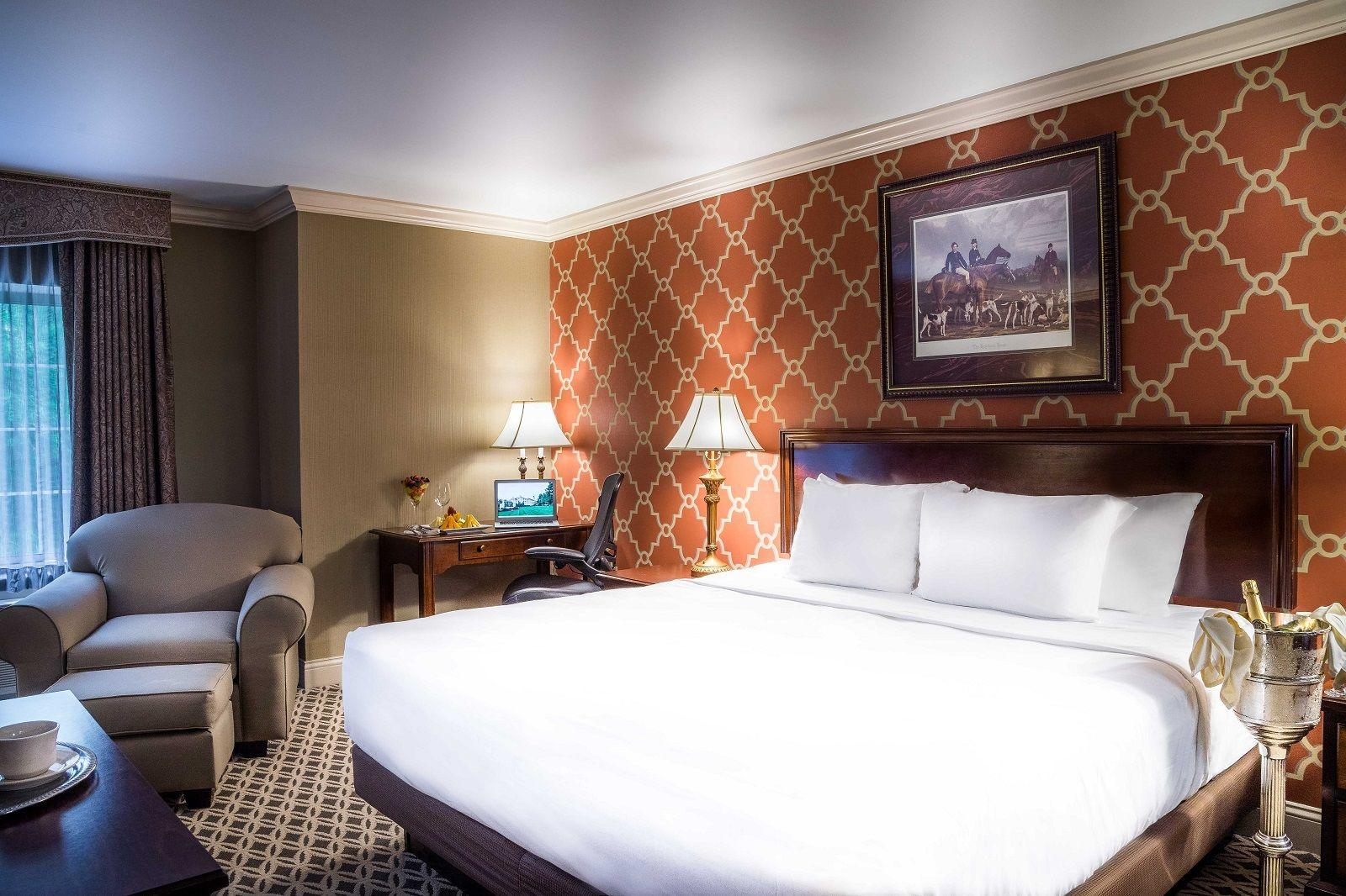 Hotel room with king-sized bed