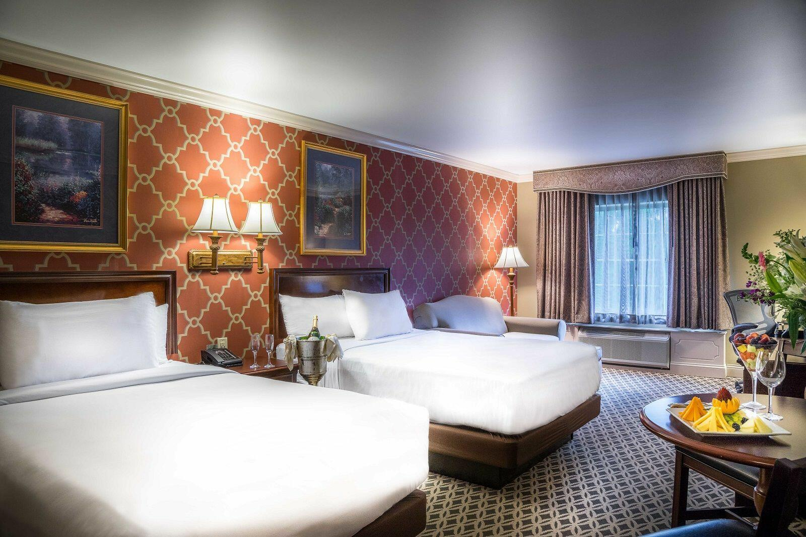 Hotel room with two double beds