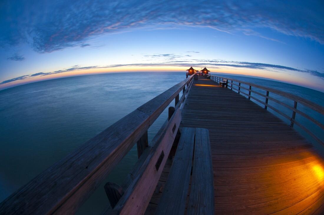 Naples Pier at dusk.