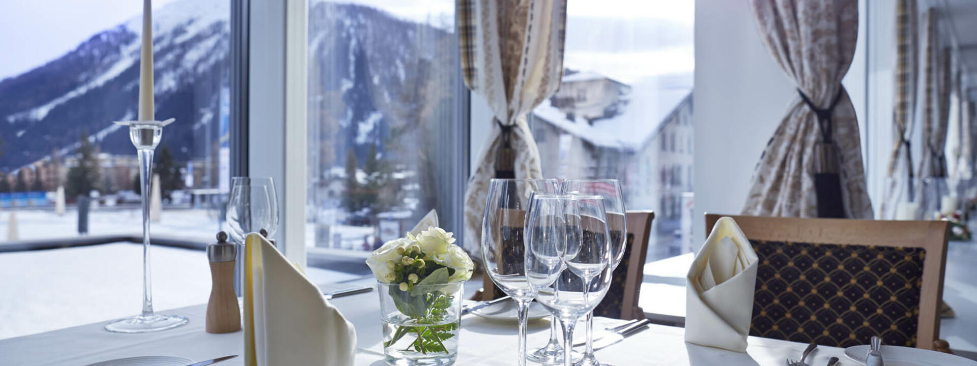 Internal view of the Panorama Restaurant at Precise Seehof Davos