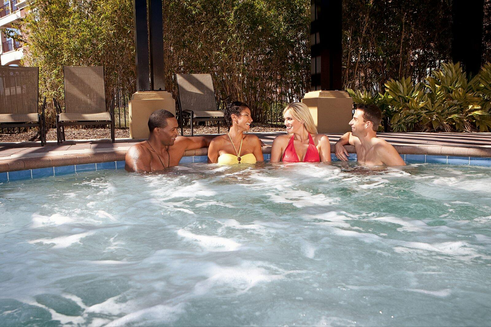 Couples in hot tub