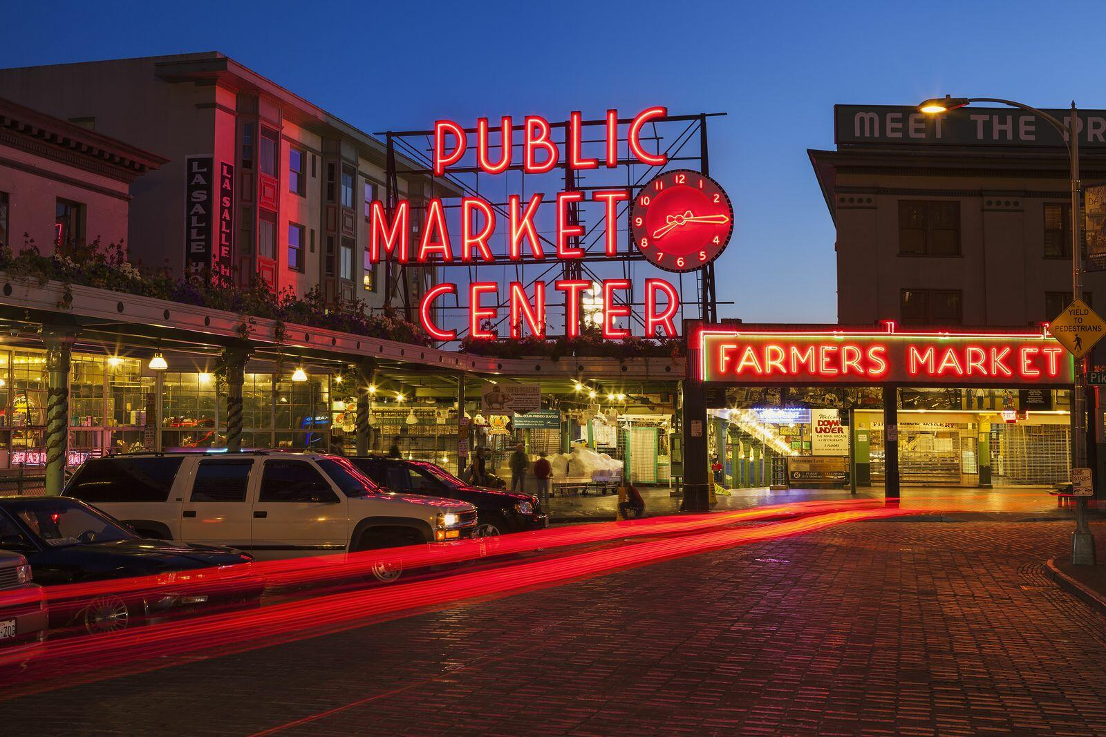 Twilight photo of Pike Place Market