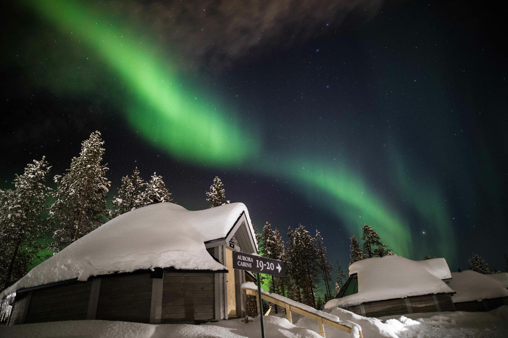 Glass-roof cabins at Northern Lights Village in Saariselkä, Lapl