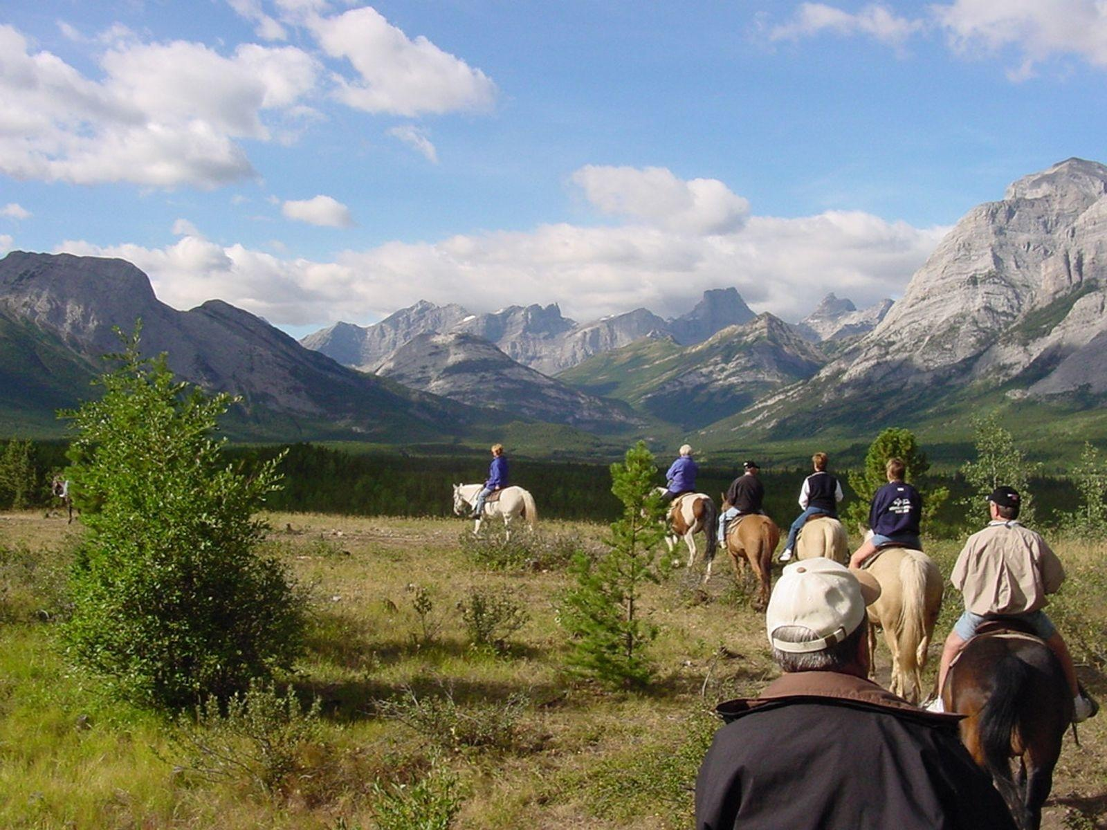 Horseback riding in mountains
