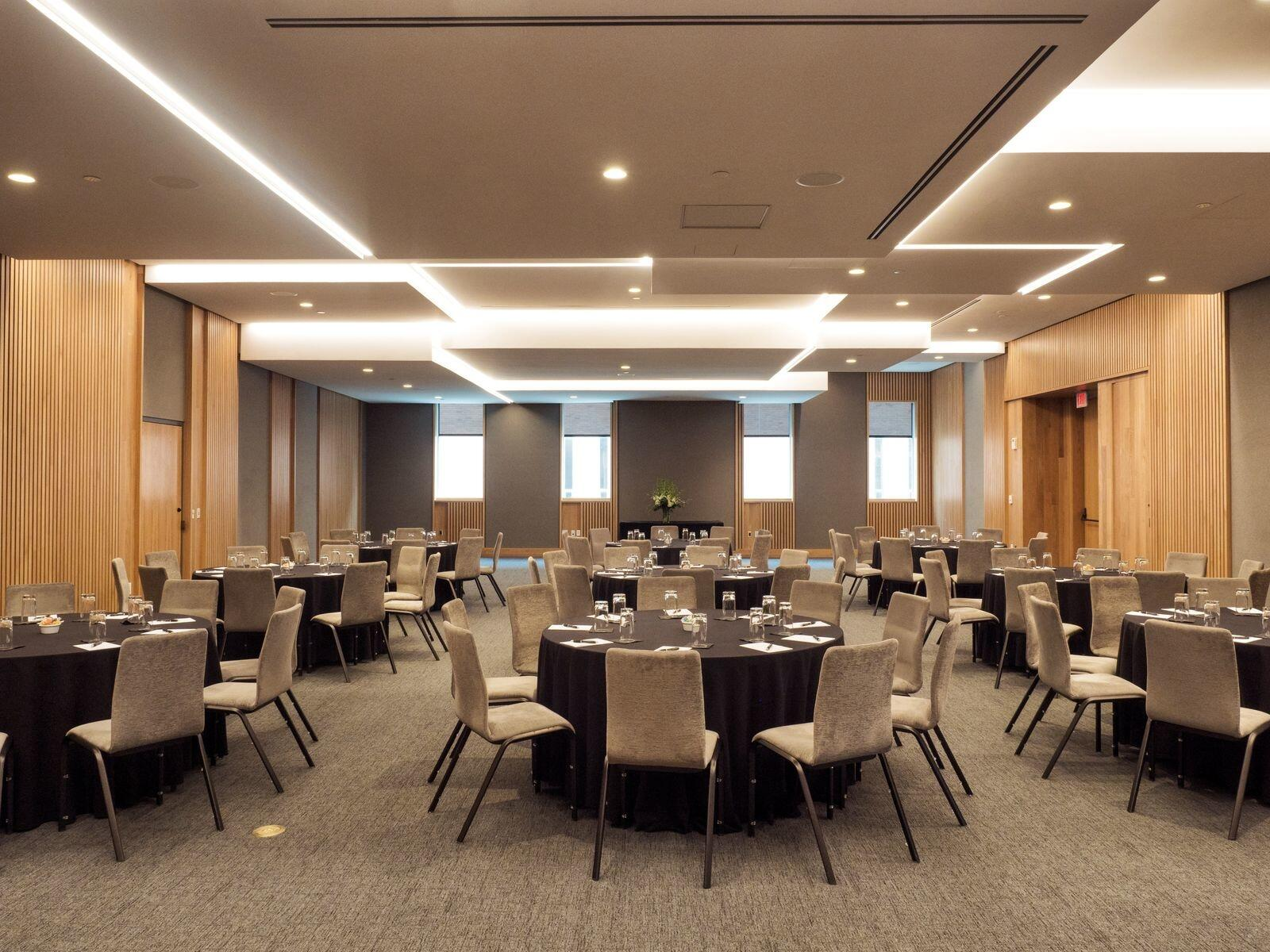 Meeting space with banquet round tables