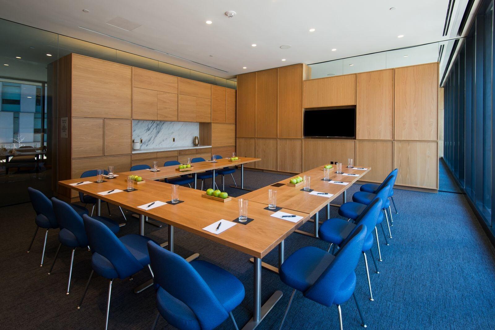 Meeting room with tables set u-shape