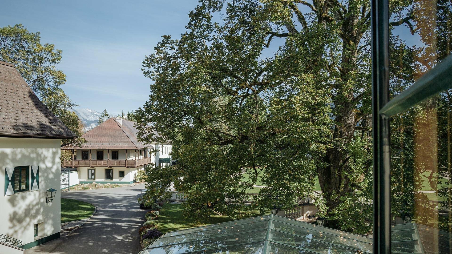 Aussicht aus der Turm Suite im Schloss Pichlarn
