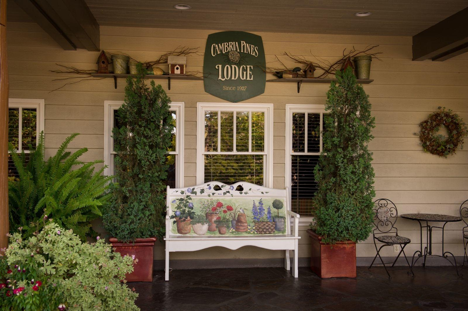 Front porch of Cambria Pines Lodge