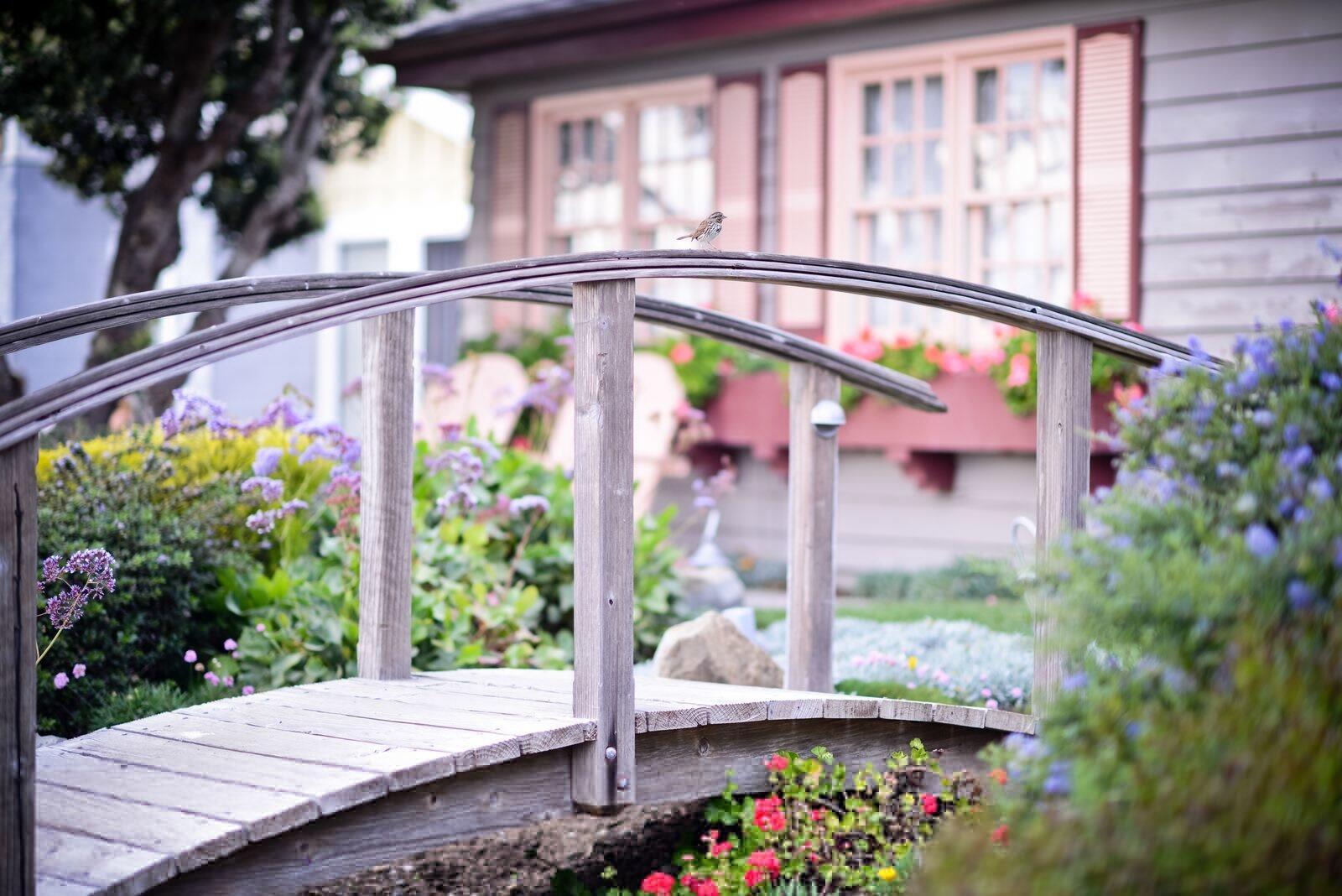 bridge in garden at Sea Otter Inn