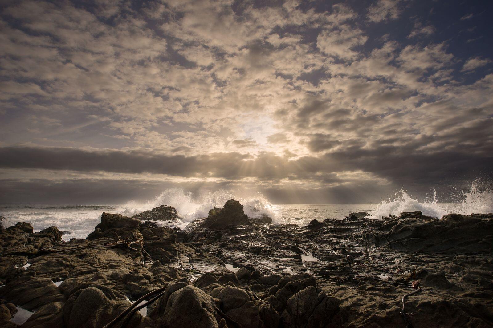 ocean hitting beach at moonstone