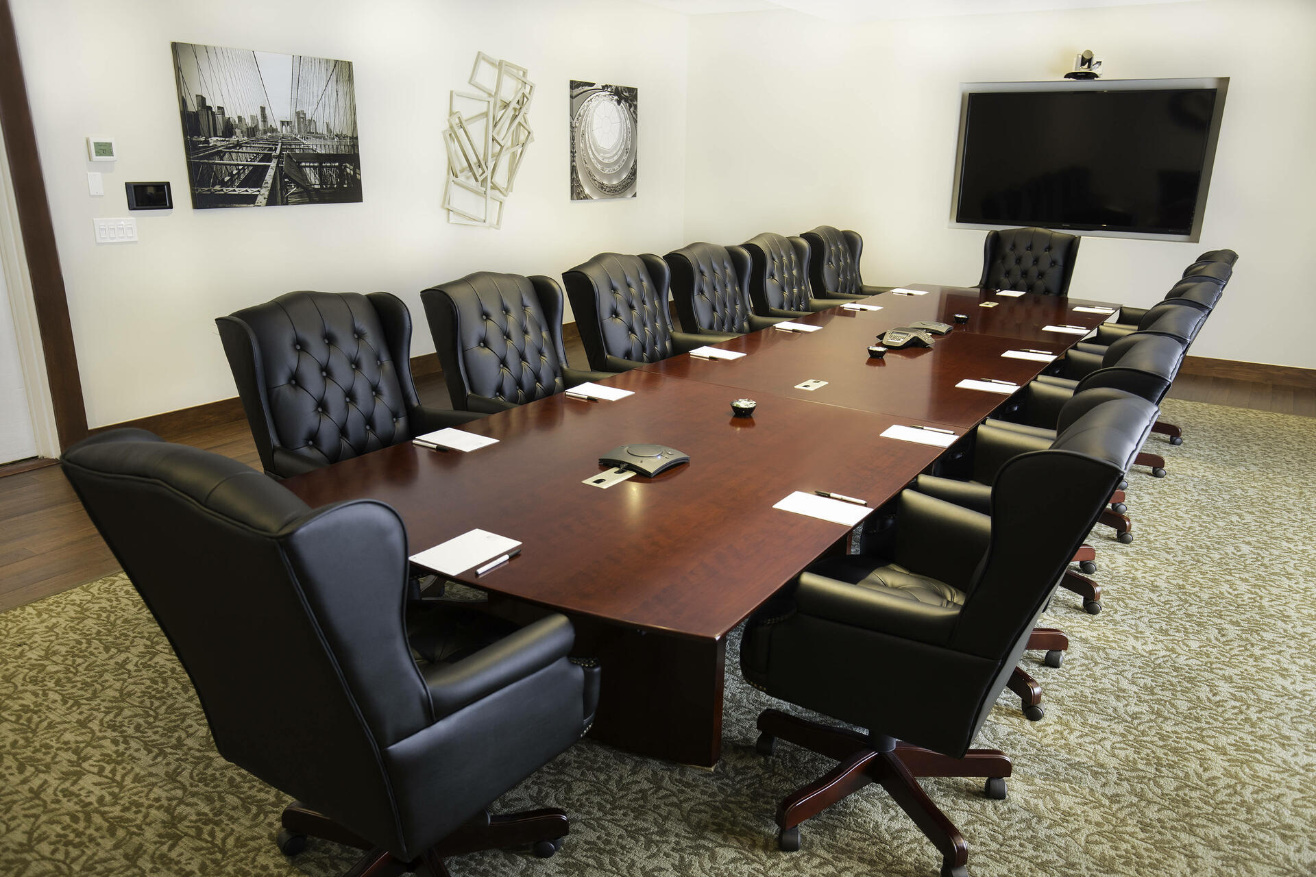 Meeting room with long conference table