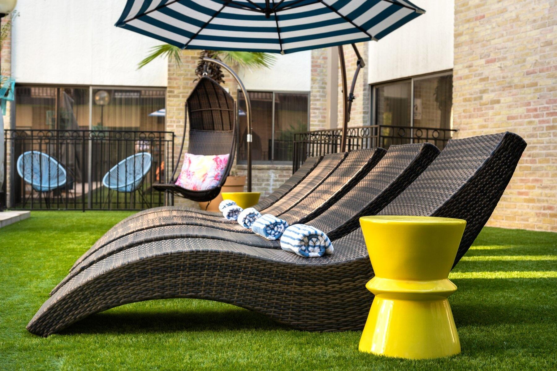 Lounge chairs by pool