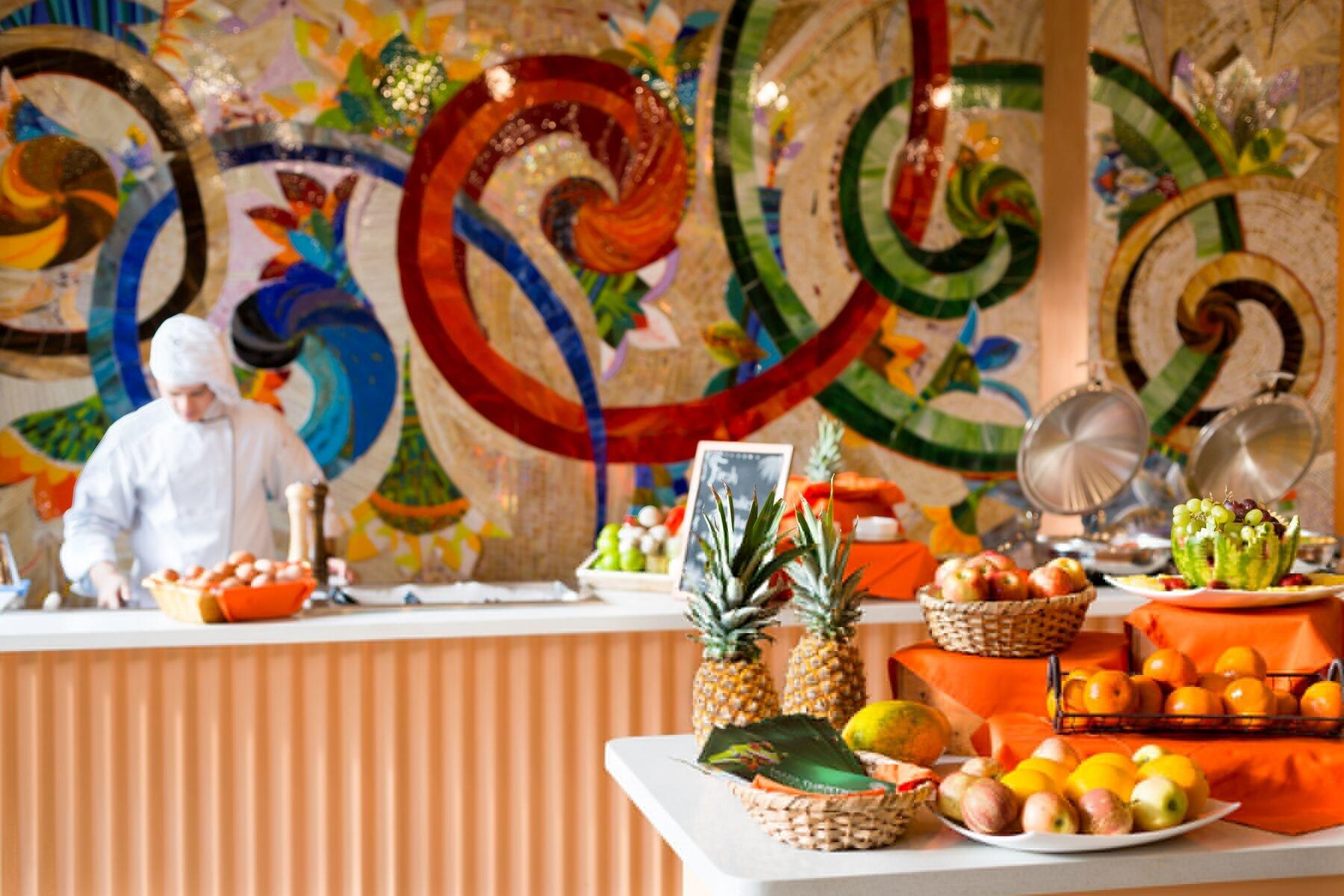 Assorted fruits at breakfast buffet