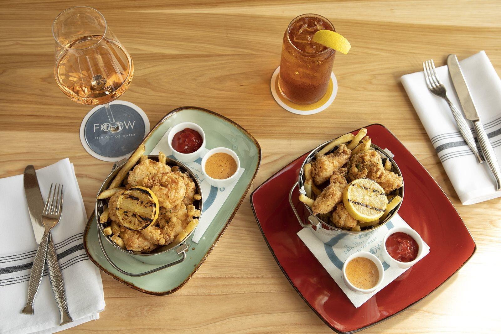 Platters of food buckets