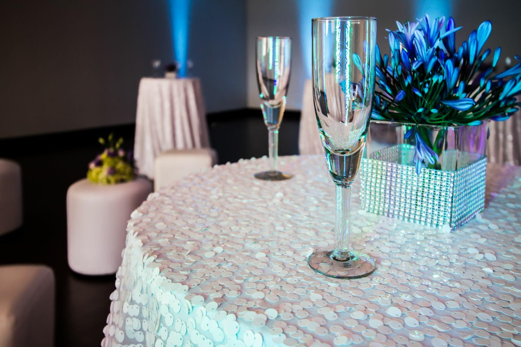 Circular table with champagne flute