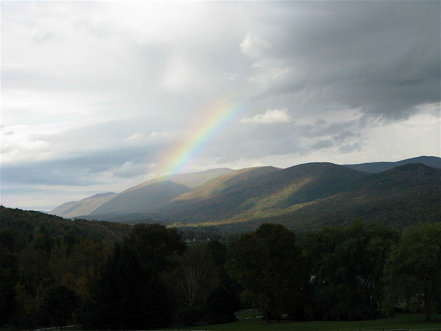 mountain view with rainbow