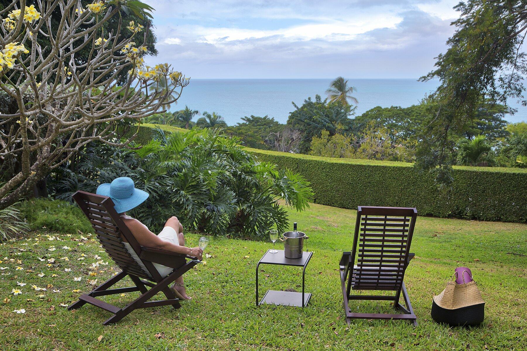Woman reclining in Trinidad garden