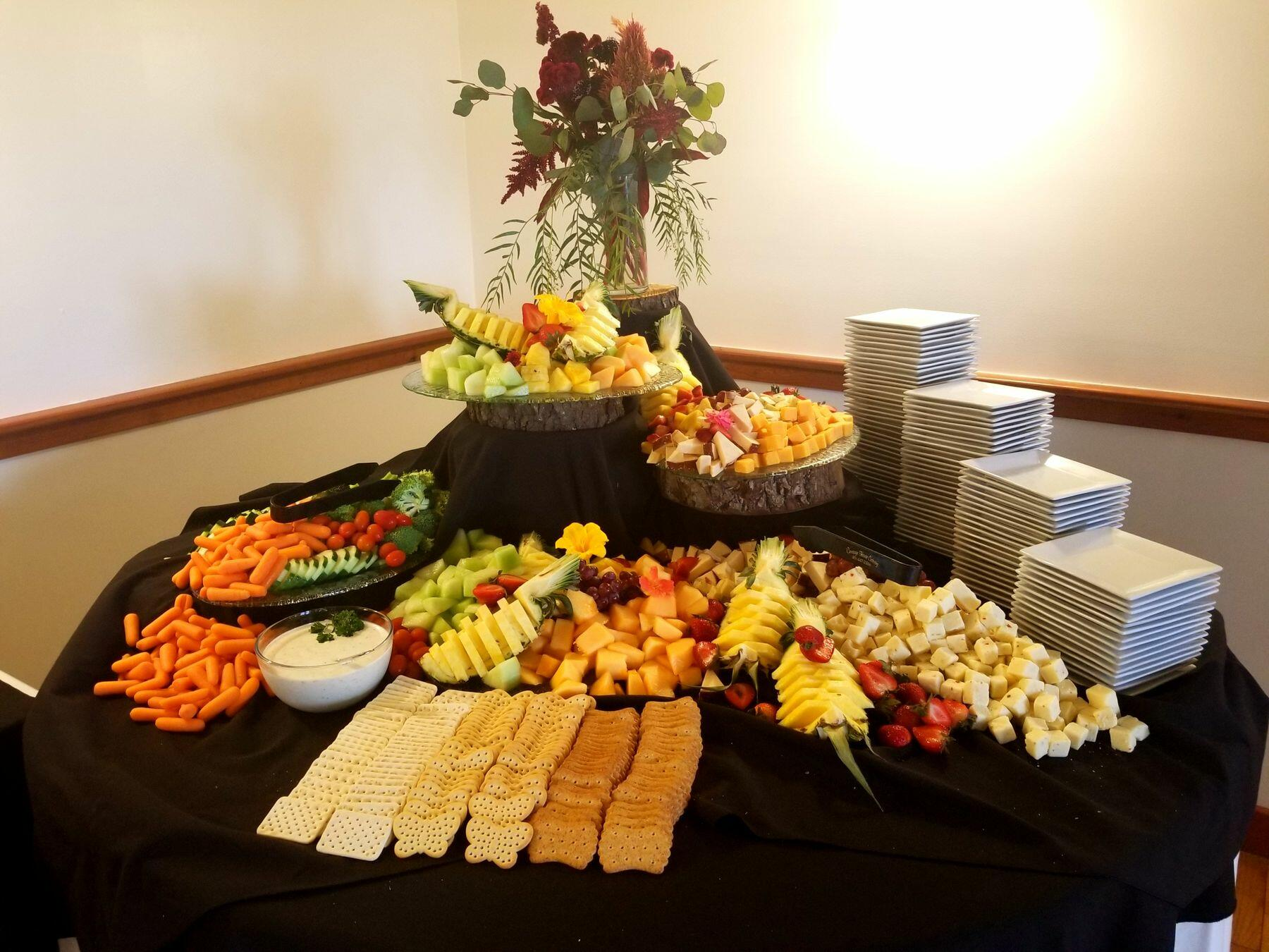 Artfully laid out buffet table.