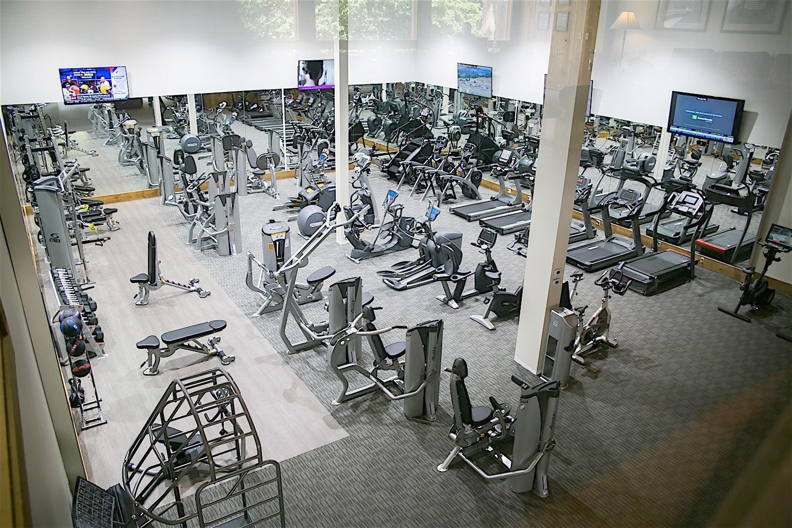 Hotel fitness room with dozens of workout stations