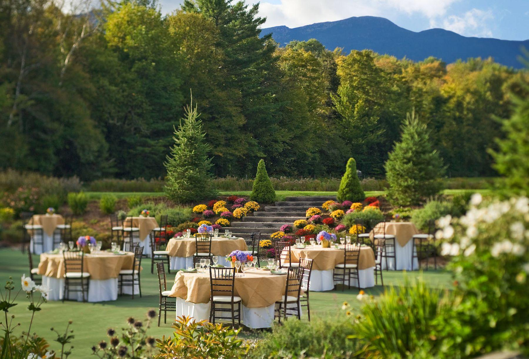 Garden party at an outdoor Vermont venue.