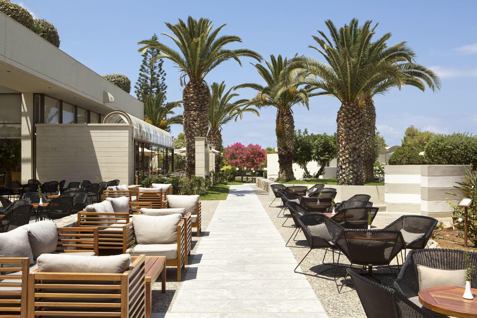 Lobby bar at Agapi Beach Resort in Crete