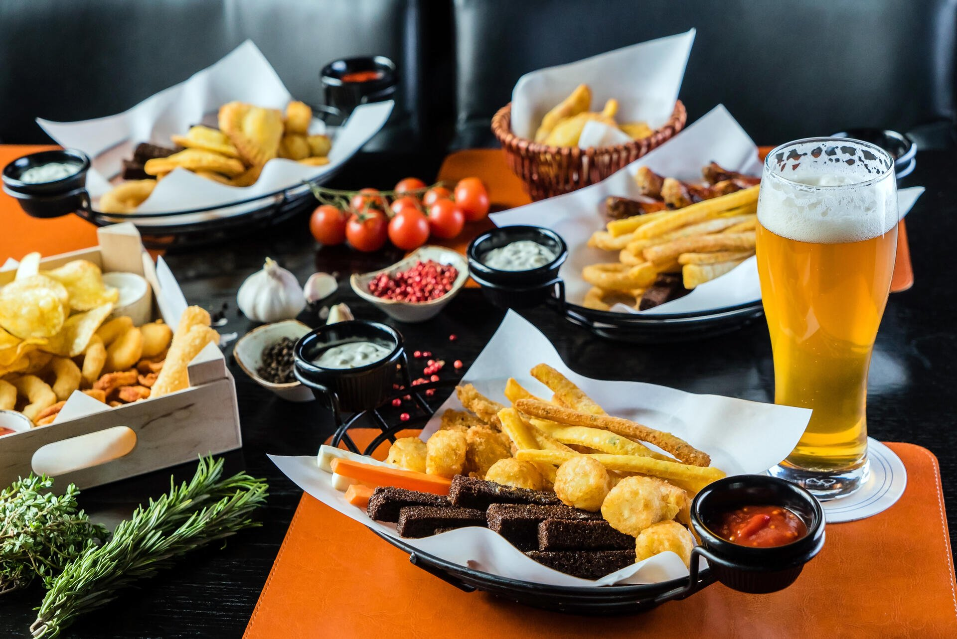Tavern food, with fries and beer.