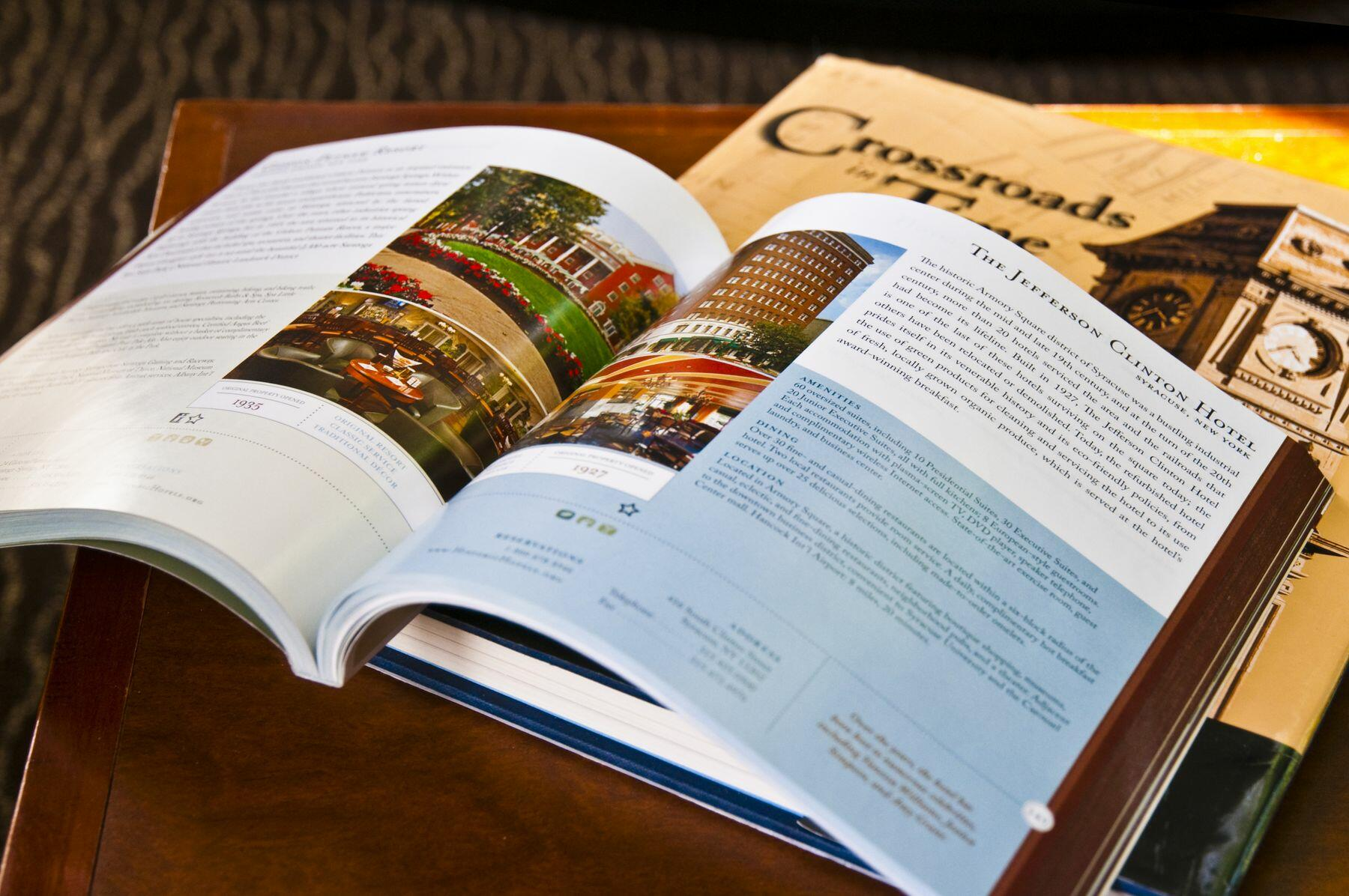 Open coffee table book
