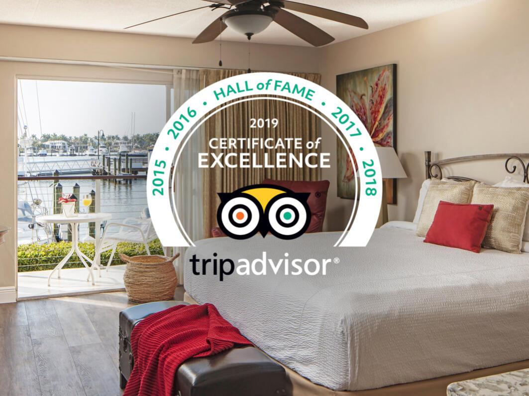 Guest room image with TripAdvisor logo overlay.