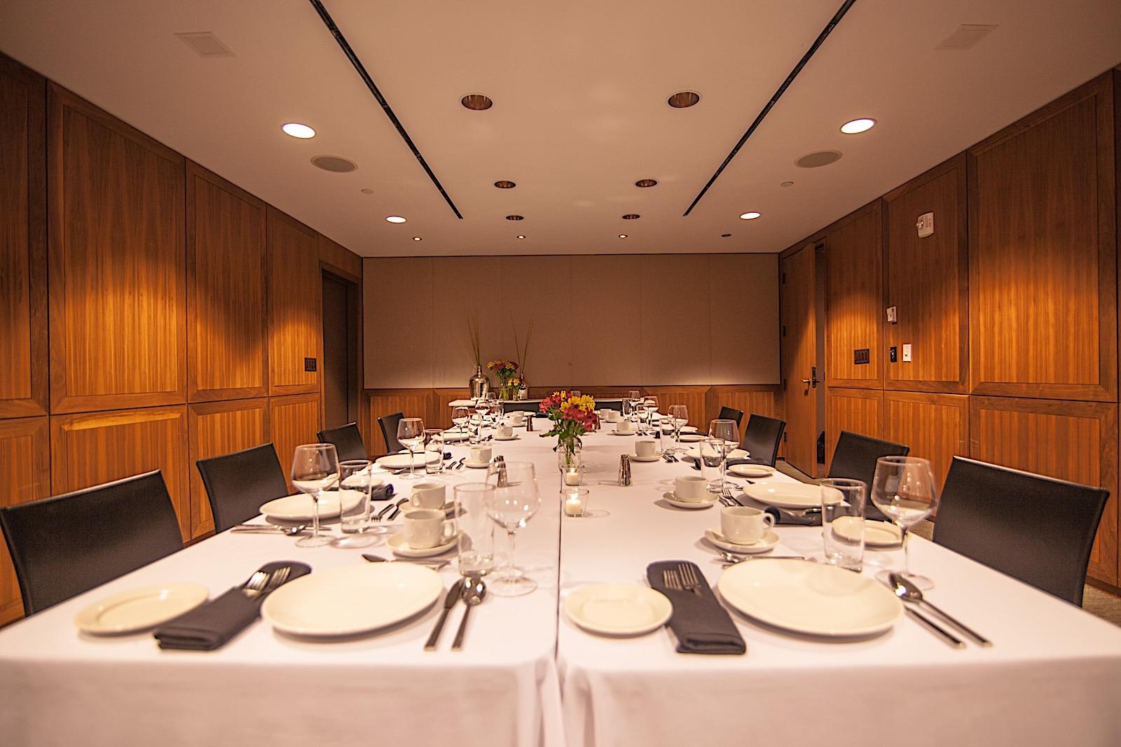 conference room set for dining
