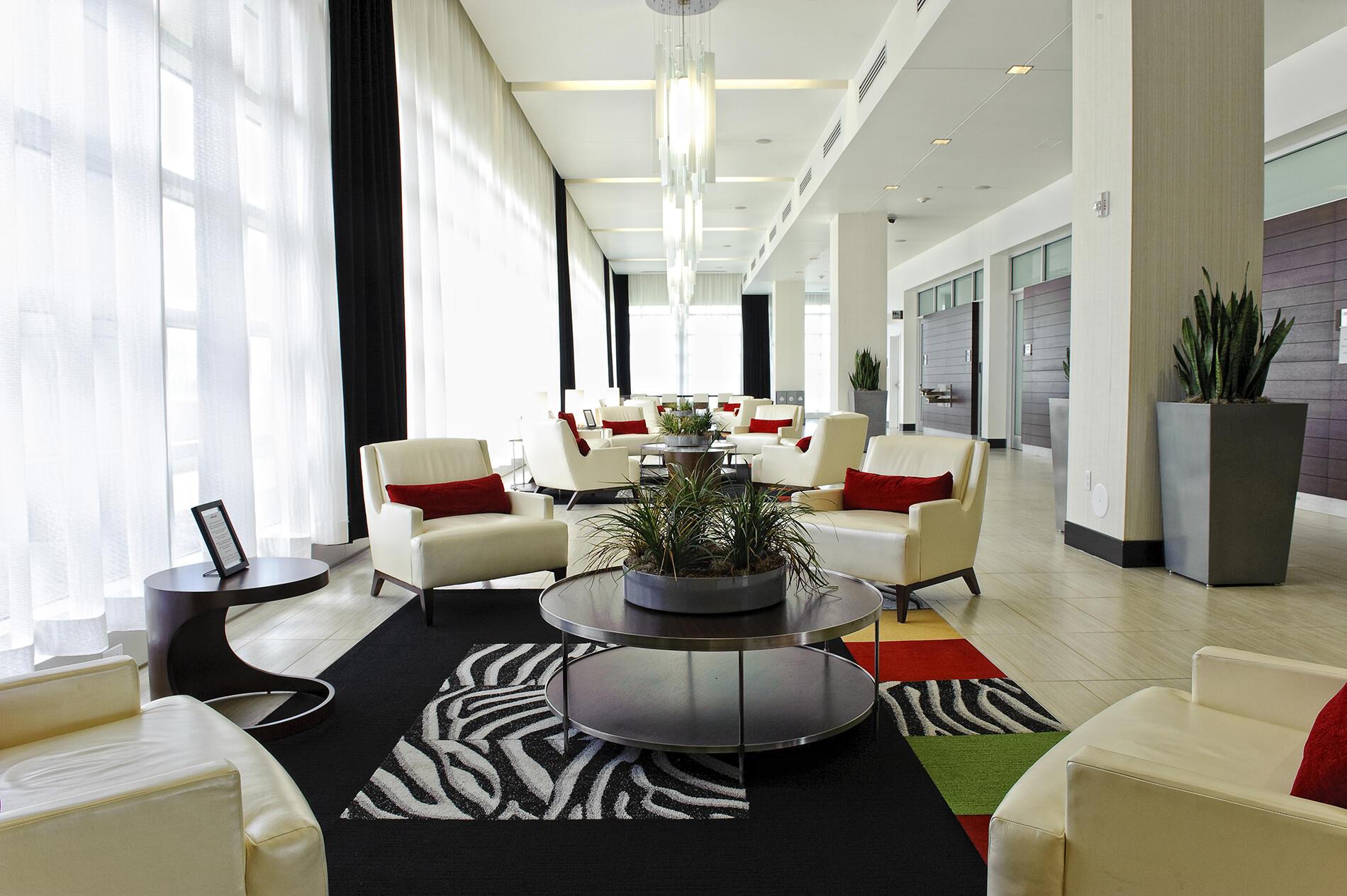 modern hotel lobby Iowa