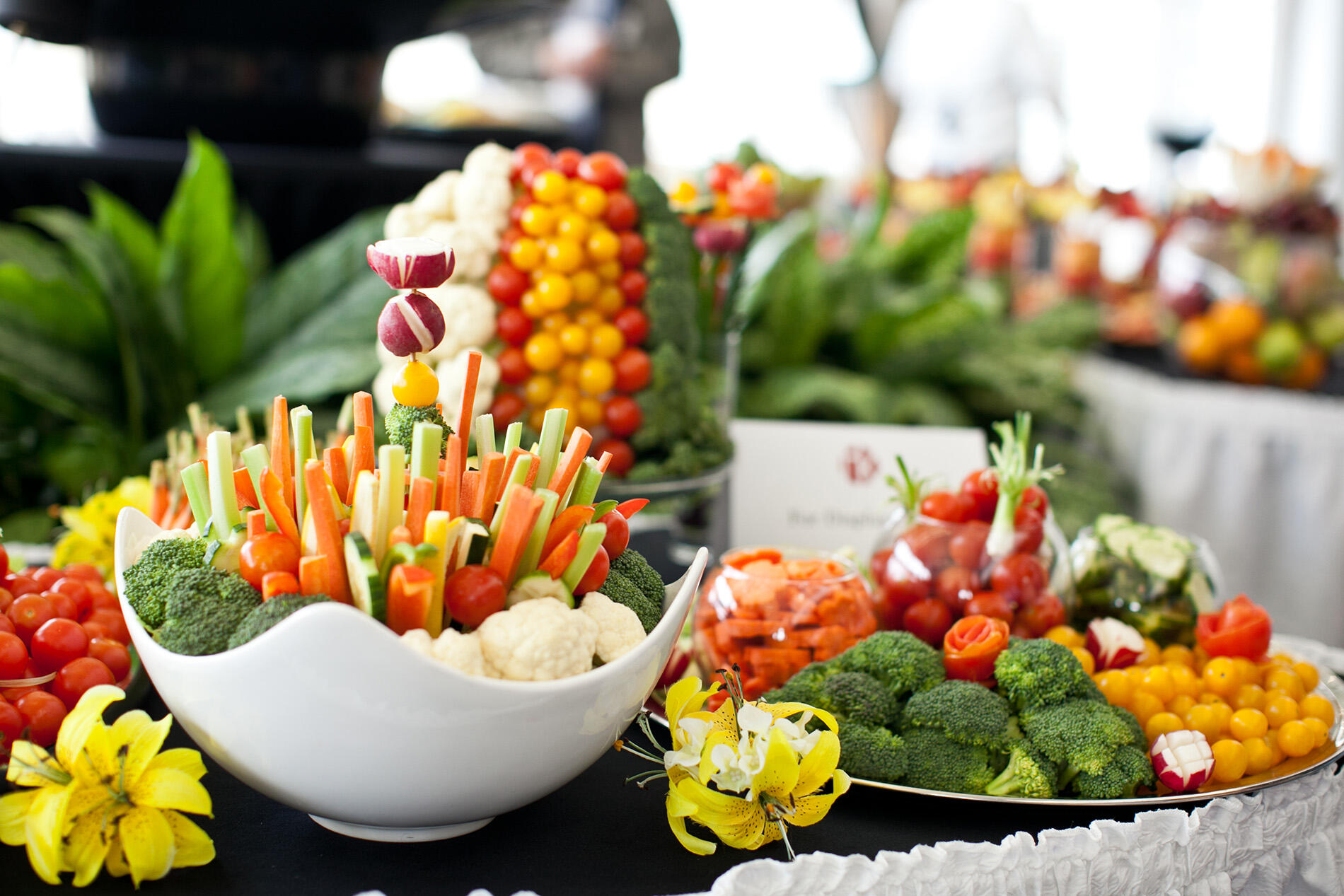 Corporate event vegetable display