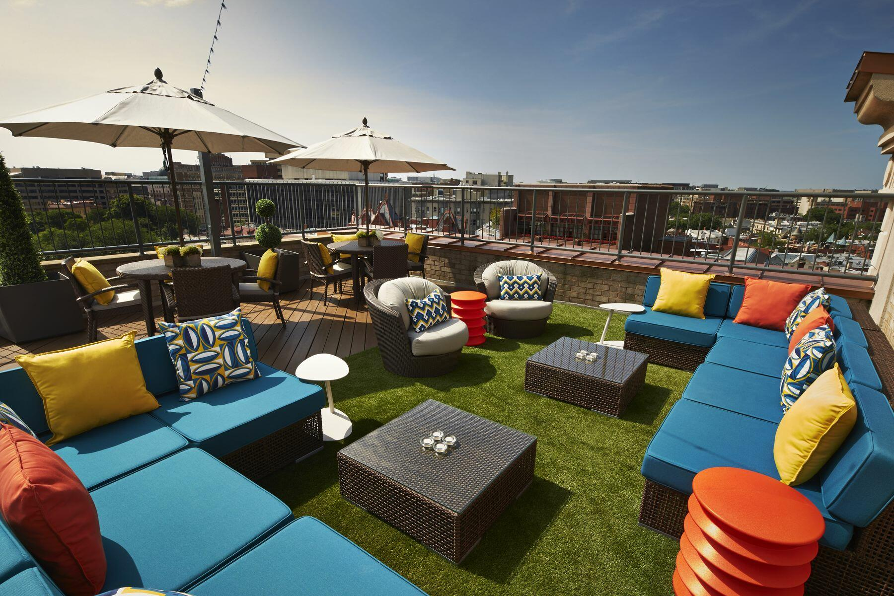 Seating at rooftop patio