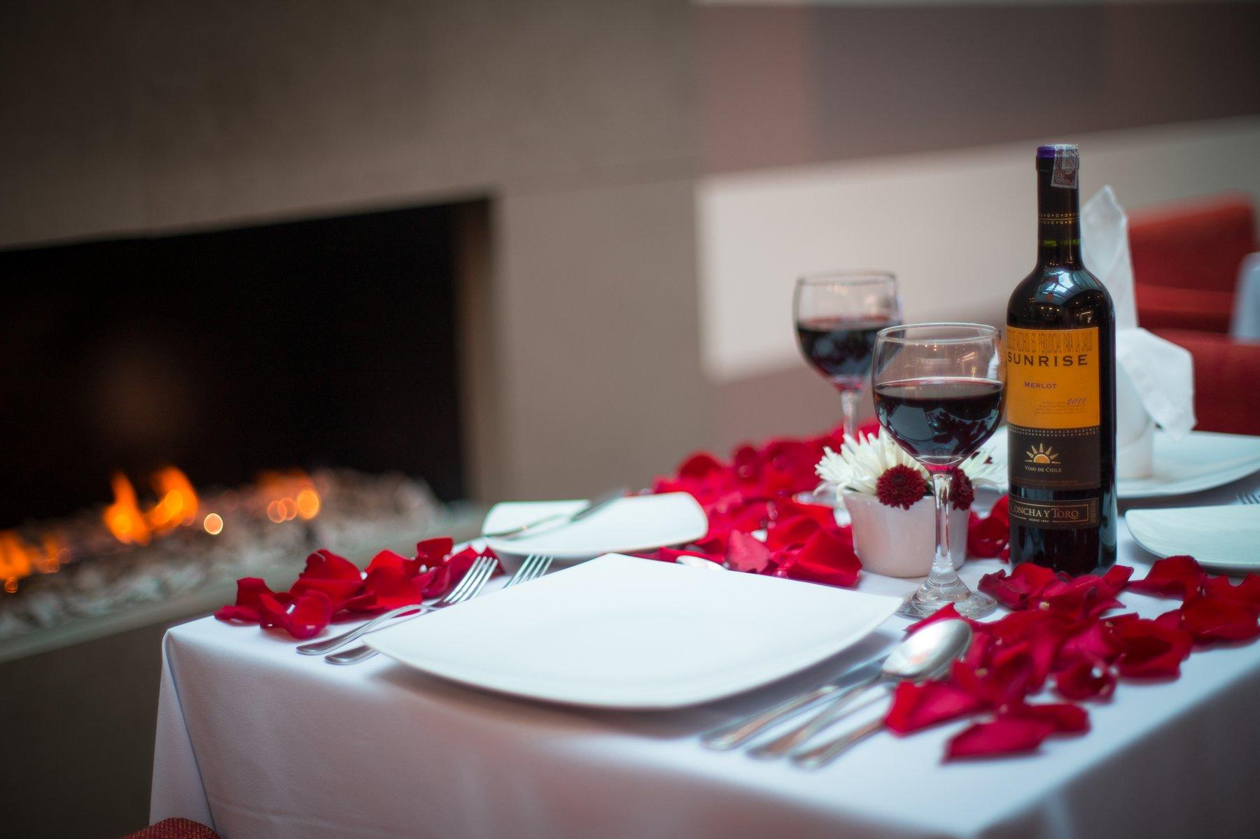 Romantic Setup in front of fireplace