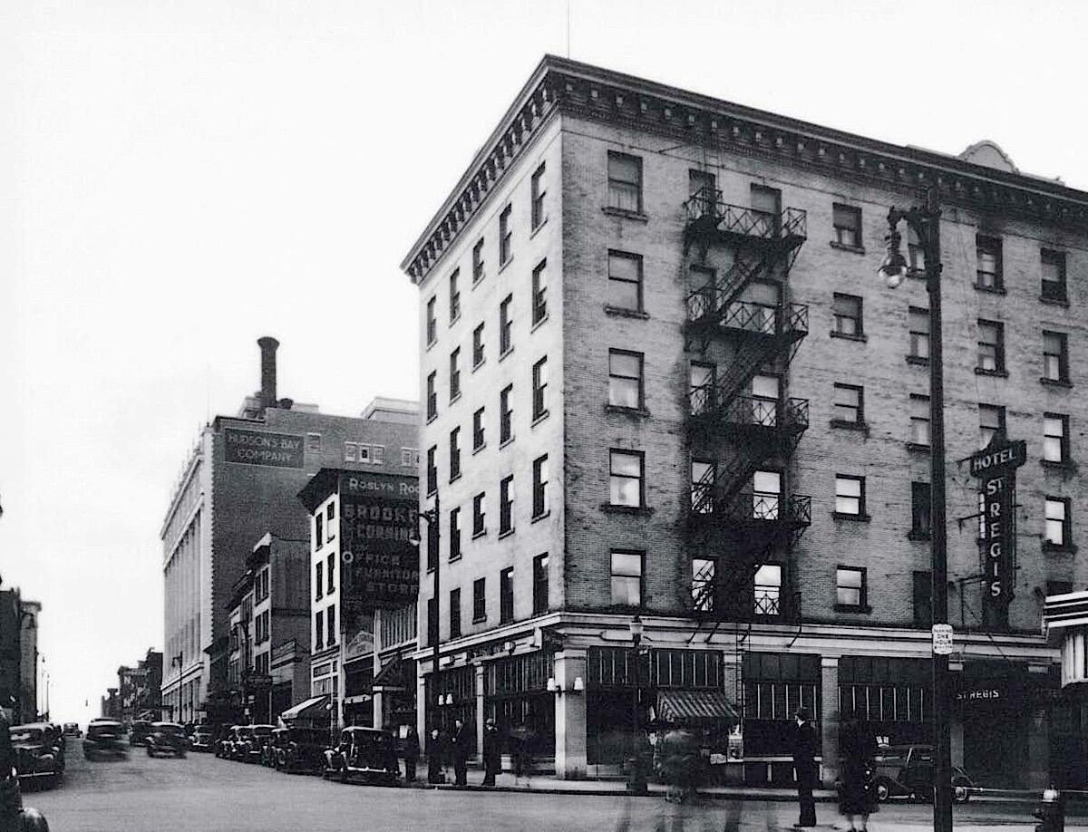 Historic exterior of St. Regis Hotel.
