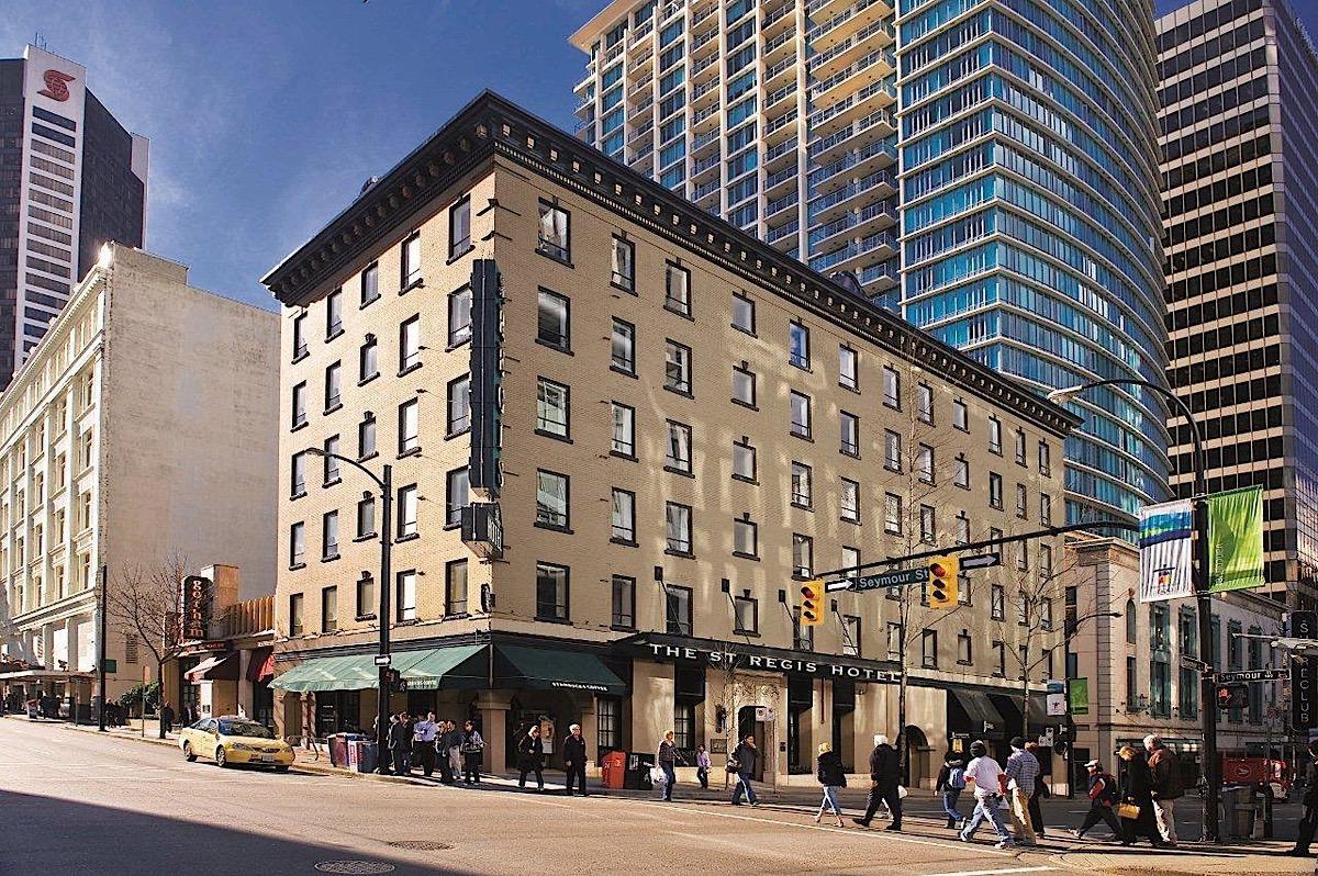 Exterior of St. Regis Hotel.