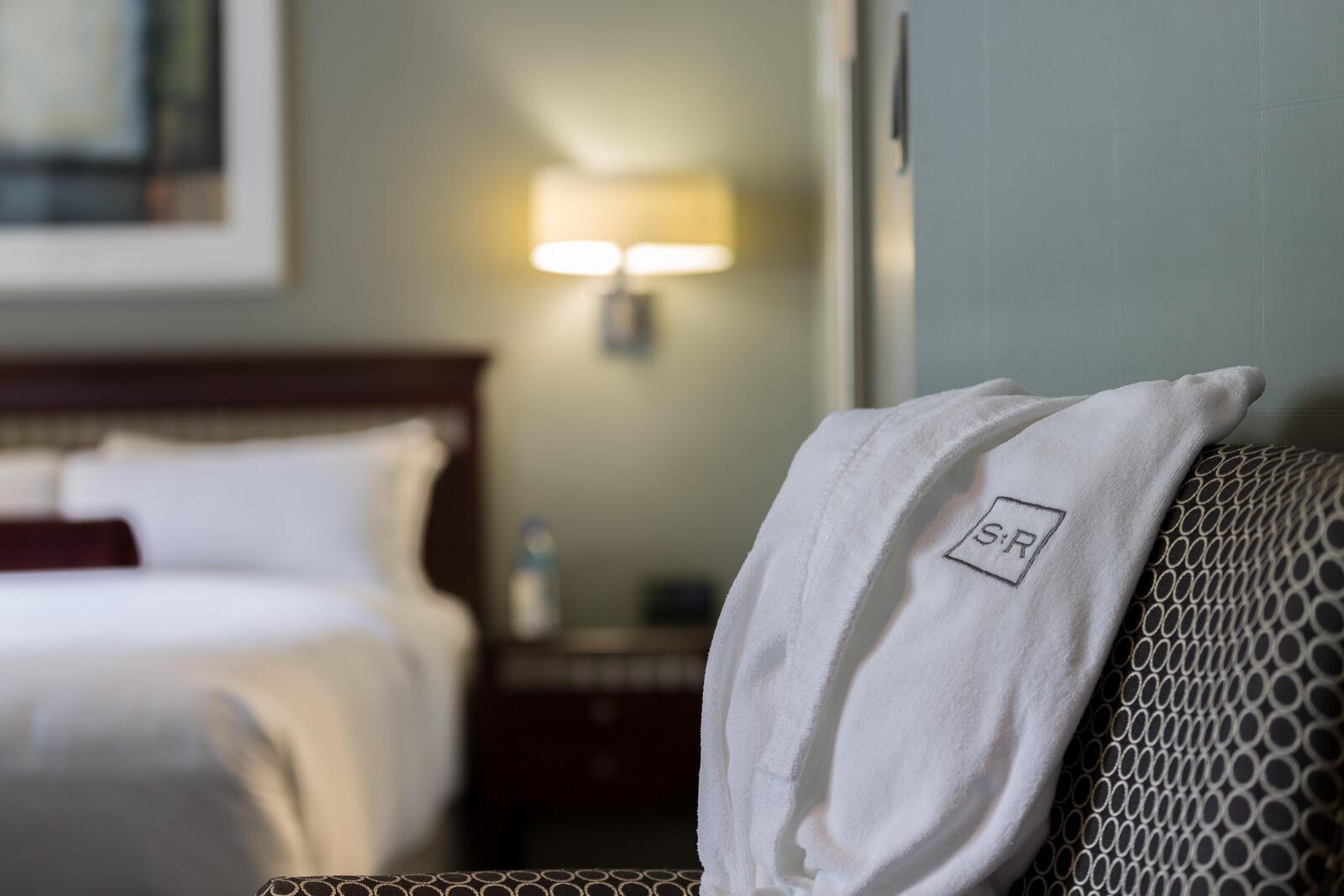 Close photo of branded St. Regis bathrobe.