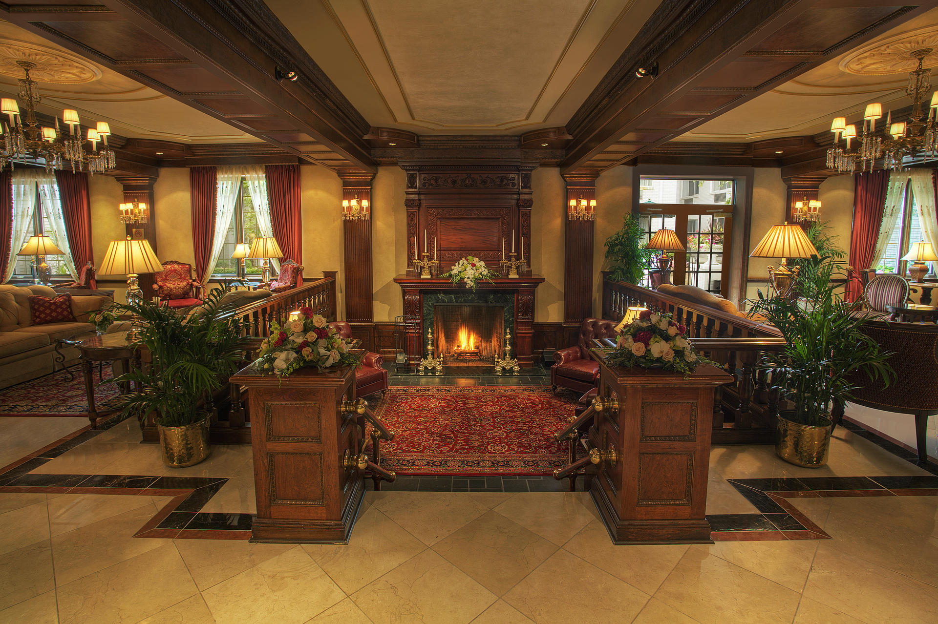 Elegant lobby and reception area