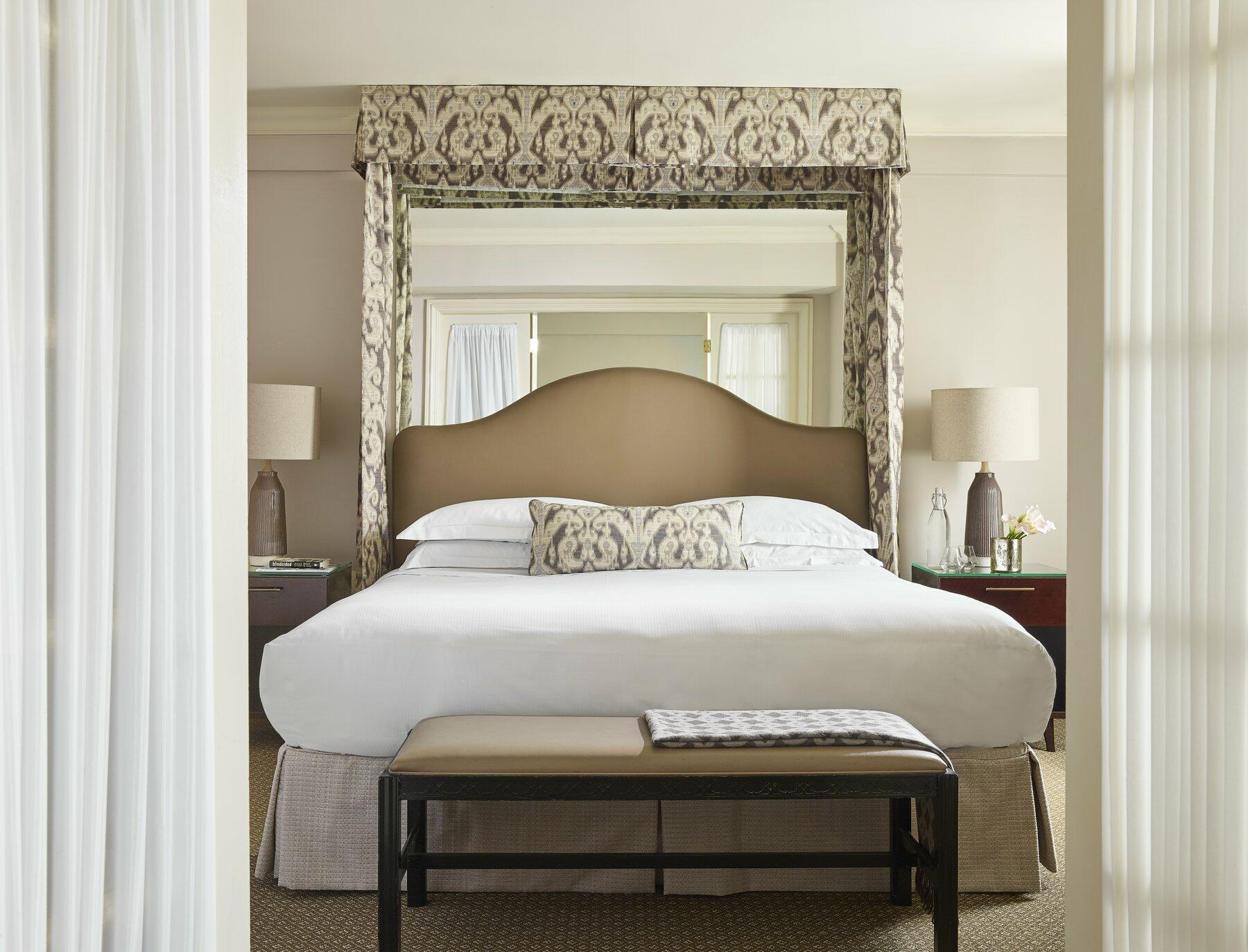 Room with one king bed, two night stands and french-doors