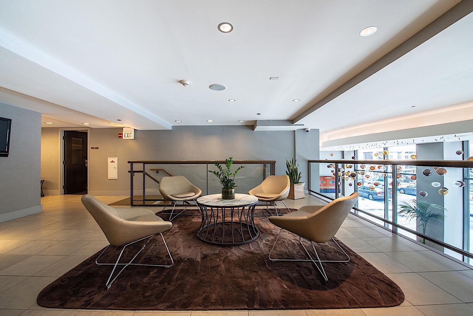 mezzanine seating area