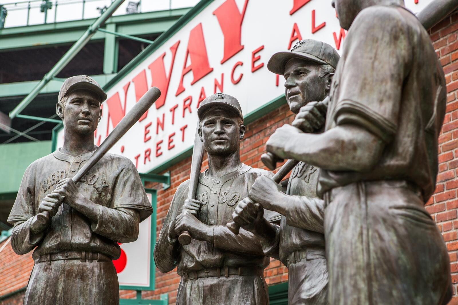 Baseball Player statue at Fenway Park Entrance