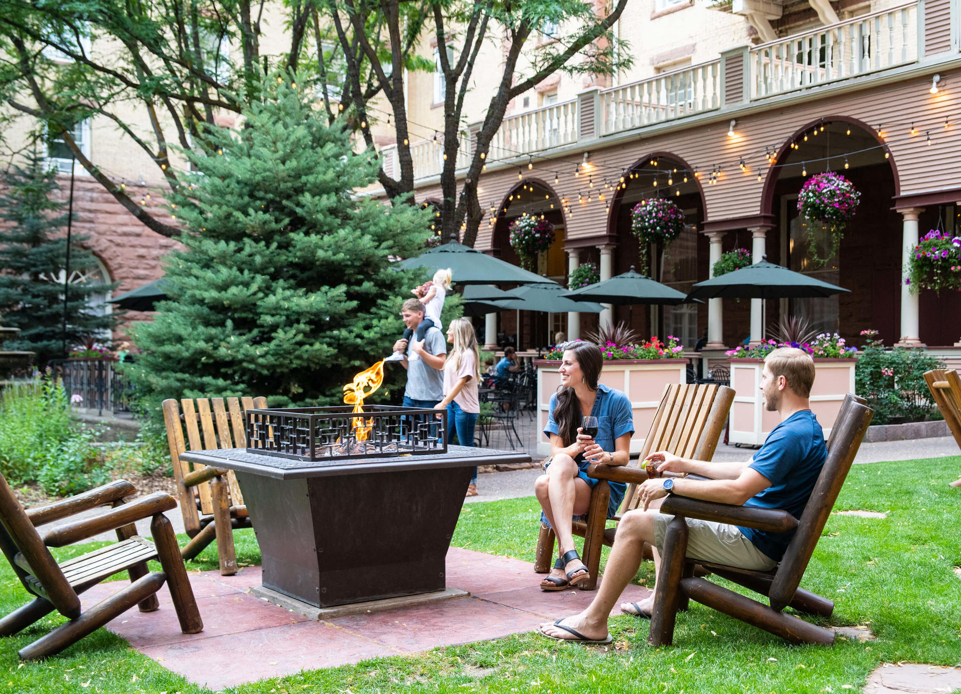 Guests enjoying the Hotel Colorado courtyard