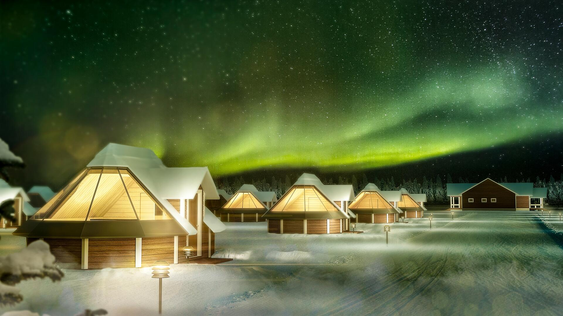 Cabins at Northern Lights Village Levi in Sirkka, Finland