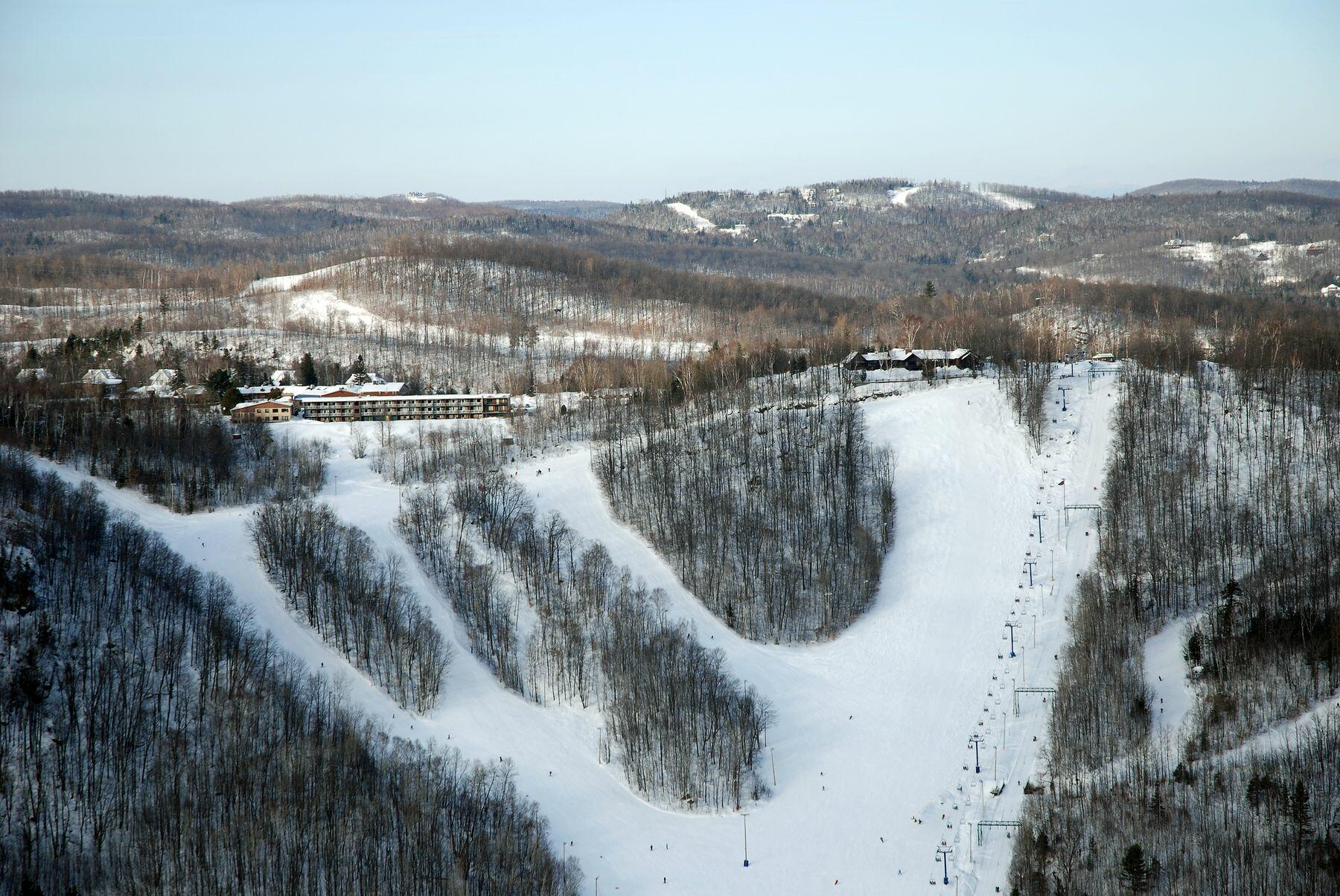 Ariel view of snow covered ski slope