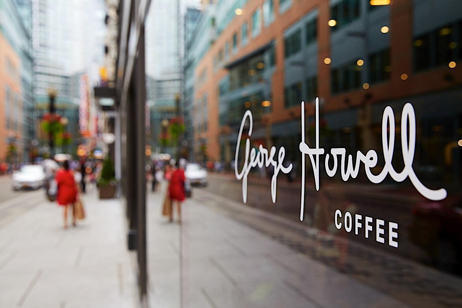 George Howell Coffee Logo on Glass Door