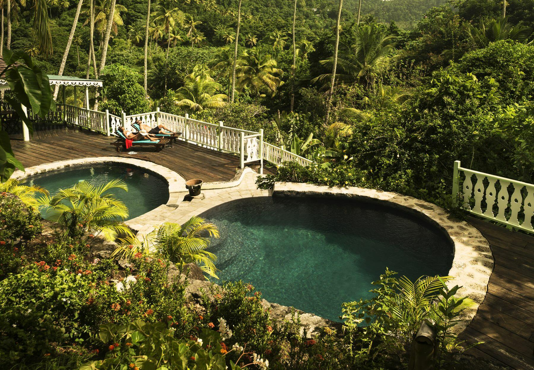 pools in tropical setting