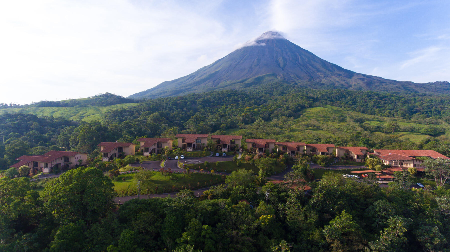 Volcano in Background of Hotel