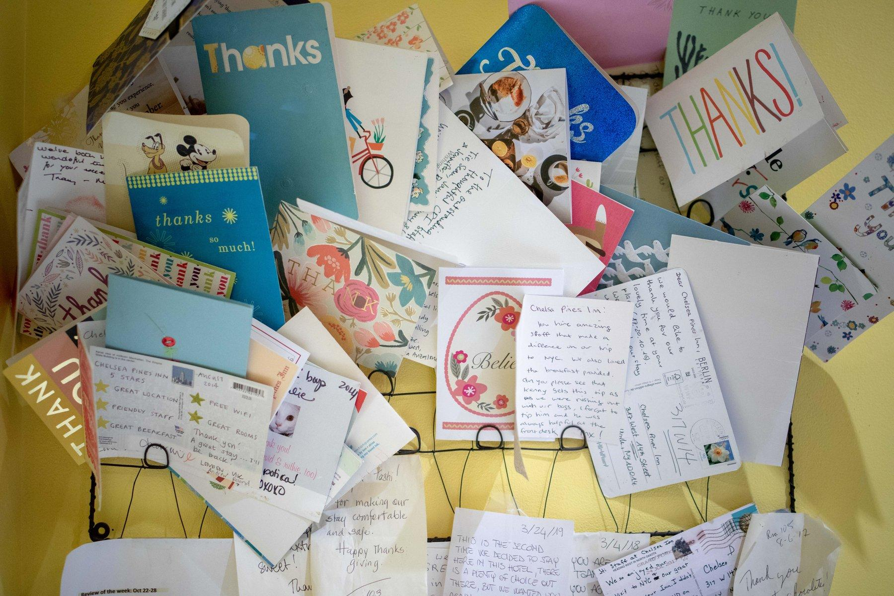 Close photo of thank-you letters.